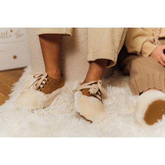 Pantofi cu blana combinata